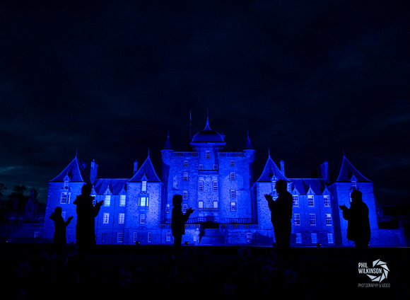 Thirlestane Castle lit blue in support and thanks of NHS , coronavirus